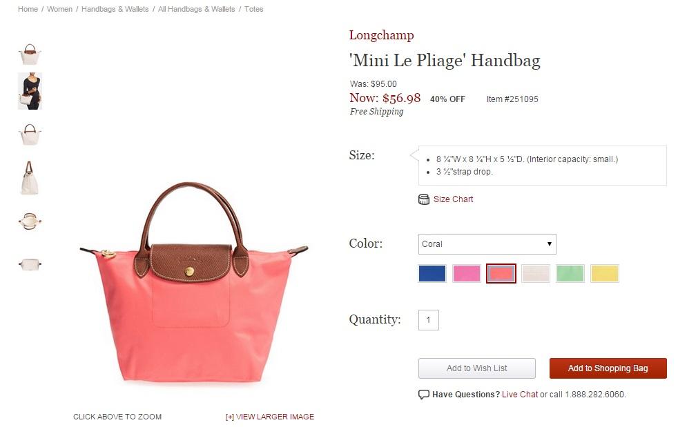 Longchamp Sizes